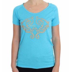 VERSACE JEANS Blue Crew-neck Studded T-shirt